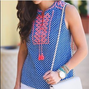 J.CREW | Printed embroidered GREEN tank top